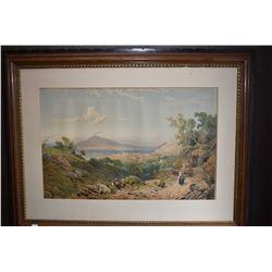 Framed hand enhanced print of a Mediterranean landscape, no artist signature seen