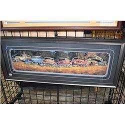 Framed Dale Klee print of antique cars