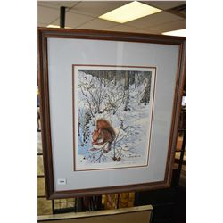 "Framed limited edition print ""Snowy Excursion-Red Squirrel"" pencil signed by artist John Seerey Lest"