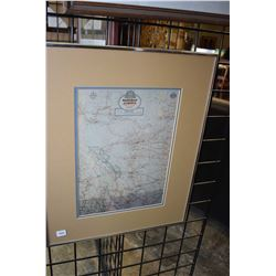 Framed official road map of the province of Alberta circa 1955