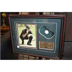 Hand signed Mike Weir Masters Champion 2003 promo photo framed with golf ball in simulated green