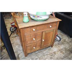 Three drawer, one door Canadian washstand sans harp