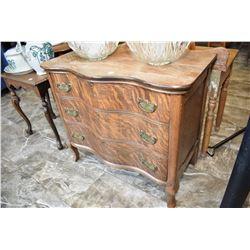Antique quarter cut oak serpentine three drawer washstand, sans harp