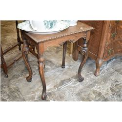 Antique side table with scroll feet, partially stripped