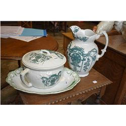 Antique stoneware potty and pitcher and a Hanley semi porcelain platter