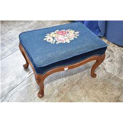 Mid 20th century needlepoint upholstered footstool