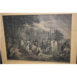 "Two antique framed art engravings ""William Pens Treaty with the Indians, when he founded the provinc"
