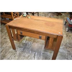 Antique Mission style single drawer oak desk with book storage one end, needs some tlc