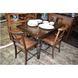 Tudor style English oak drawer leaf dining table and four chairs