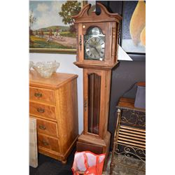 Semi contemporary German made long case clock with triple weight movement, not working at time of ca