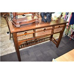 Semi contemporary console table with three basket pull out drawers