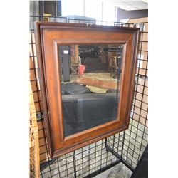 "Framed bevelled wall mirror, overall dimensions 38"" X 32"""