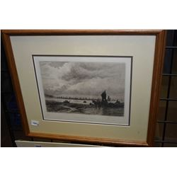 Two framed vintage etchings including framed fishing boats of Whitby, and an unframed Foundry/South