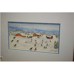 "Framed original watercolour titled ""Winter Games"" signed by artist Irene McCaugherty 1989, 6"" x 10 1"