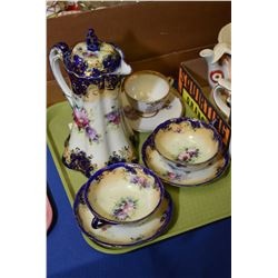 Hand painted Victorian cocoa pot and two matching cups and saucers plus a hand painted cup and sauce