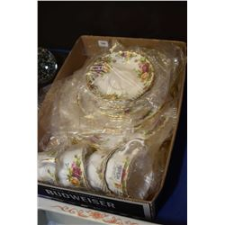 Four new in package place settings of Royal Albert Old Country Roses including dinner plate, side pl