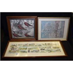 "Four framed prints including ""Ocean"" by Emily Carr, vintage Vincent Van Gogh print ""Peach Tree In Bl"