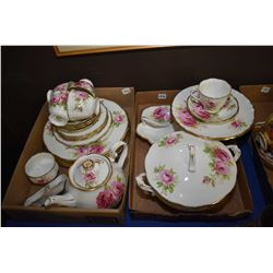 Selection of Royal Albert American Beauty china including five dinner plates, four side plates, five