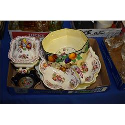 Selection of porcelain collectibles' including Mason's fruit basket divided dish and matching small