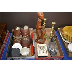 Selection of vintage collectibles including a pair of leather ski boots, buck knife in sheath, a Gos