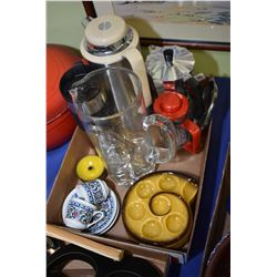 Selection of kitchenware including Spanish made Oroley coffee pot, Bowden coffee press, two demis et