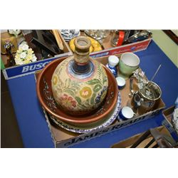 Selection of collectibles including pottery bowls, Mexican hand painted bottle, cocktail stir straws