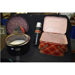 Selection of collectibles including balance scale with weights, electric iron, hat box with hat and