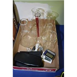 Selection of laboratory type items including beakers, digital thermometer alarms, laser pointer etc.