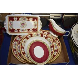 """Selection Aynsley china """"Lady Hamilton"""" tableware including two platters, two open vegetable dishes,"""