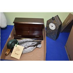 Modern flip lid desk organizer, limited edition male mallard by Gosset and a pewter faced, gold acce