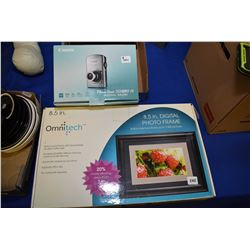 """Boxed but untested Omnitech 8.5"""" digital photo frame and a Cannon SD880 IS digital camera"""