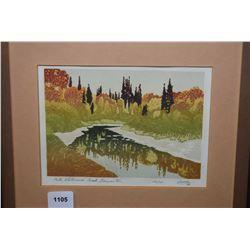 "Small framed block print ""Fall, Whitemud Creek, Edmonton"" signed Weber 82"" 176/200"