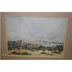 """Framed watercolour painting of a seaside village signed by artist Michael Croeseti (?), 10"""" X 15"""""""