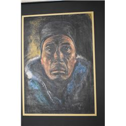 """Framed pastel portrait drawing signed by artist S. Krause 74"""", 15"""" X 12"""""""