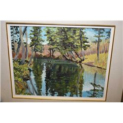"""Framed acrylic on board painting titled on verso """"Spruce Shadows"""" signed by artist Crane Thomas, 14"""""""
