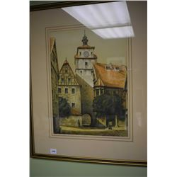 Vintage framed print of a town center clock tower
