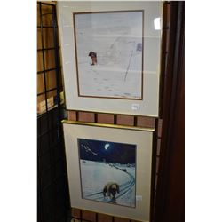 Two framed prints of Inuit scenes