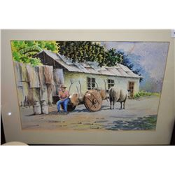 """Framed original watercolour painting of an oxen and cart vendor signed Afernandez '84, 10"""" X 14"""""""
