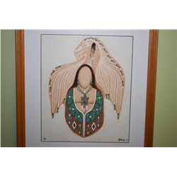 """Three framed original paintings by Henry Letendre including """"Eagle Shroud"""", """"Embrace of Love"""" and """"T"""