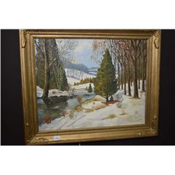 Framed oil on board painting of a winter snow covered meadow and lake scene signed by artist B. Kneu