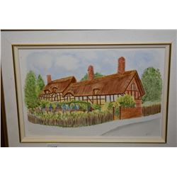 """Framed hand painted tile of Anne Hathaway's Cottage signed by arist Betty, 8"""" X 12"""""""