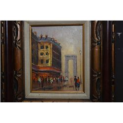 """Framed acrylic on canvas Paris street scene painting signed Marty (?), 10"""" X 8"""""""