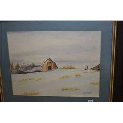 """Framed original watercolour titled on verso """" Barn in Winter"""" signed by artist A. O. McIntyre 12"""" X"""