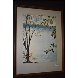 """Framed watercolour painting of a lake scene signed by artist J. Fiala, 1965, 14"""" X 11"""""""