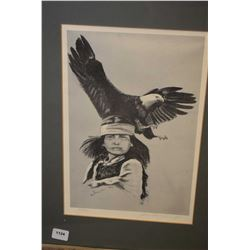 Framed limited edition black and white print of a native scout with eagle pencil signed by artist 16