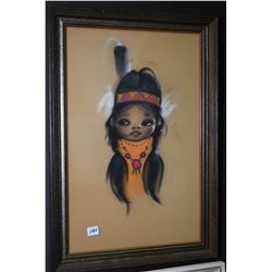 """Two framed portrait paintings of native children including one titled """"Spotted Elk"""" signed by artist"""