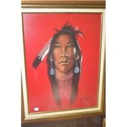 "Framed pastel portrait of a native man signed by artist Christoffersen 23 1/2"" x 17 1/2"""