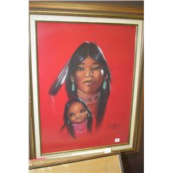 """Framed pastel portrait of a native mother and child signed by artist Christoffersen 23 1/2"""" x 17 1/2"""