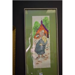Two framed coloured pen and ink illustrations including a nun and an art gallery scene signed by art