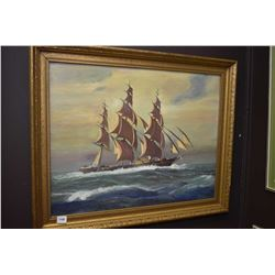 """Framed acrylic on board painting of a sailing ship on rough waters. No artist signature seen 16"""" x 2"""